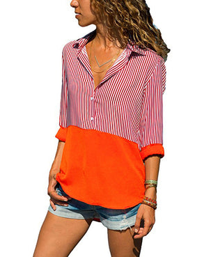 Solid-colored Stitching Striped Shirt