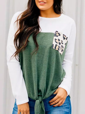 Leopard Print Color-block Round Neck Long Sleeve Lace-up Pockets Knitted T-shirt