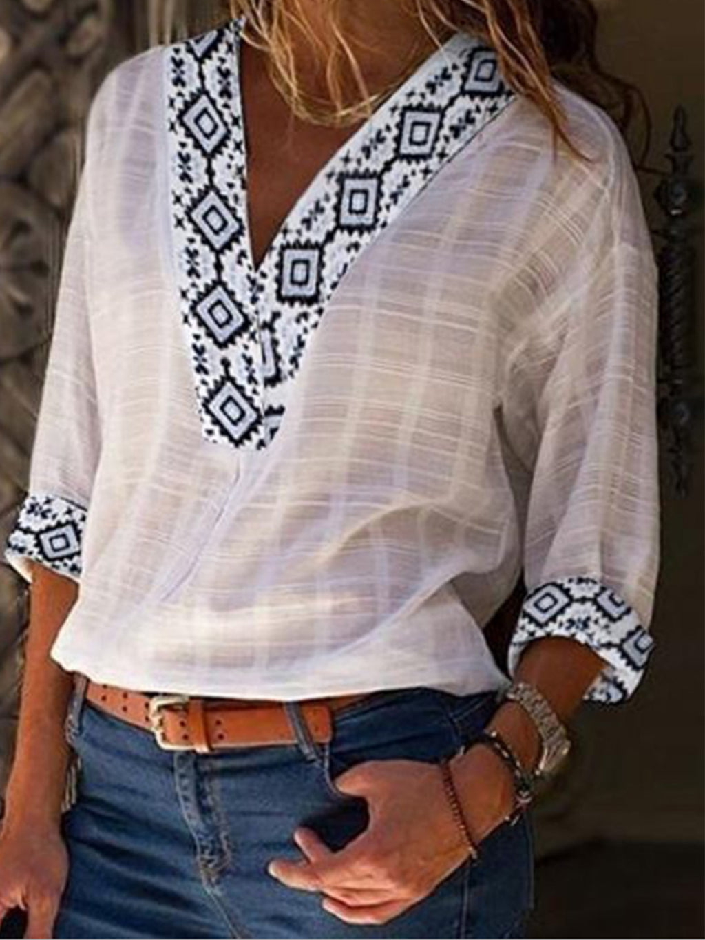 Floral V Neck 3/4 Sleeve Linen T-shirt