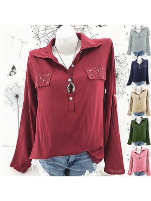 Pink Solid Casual Loose Stressed Pocket Shirt