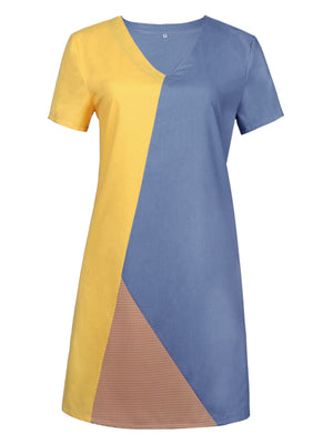 Color-block V Neck Short Sleeve Midi Dress