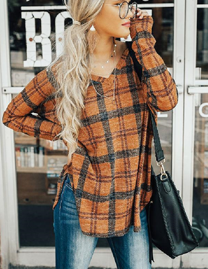 Casual Sexy V-neck Split-grid Long-sleeved Shirt