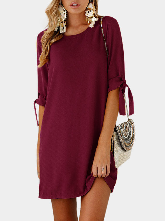 Pink Lace Up Plain Crew Neck Half Sleeves Dress