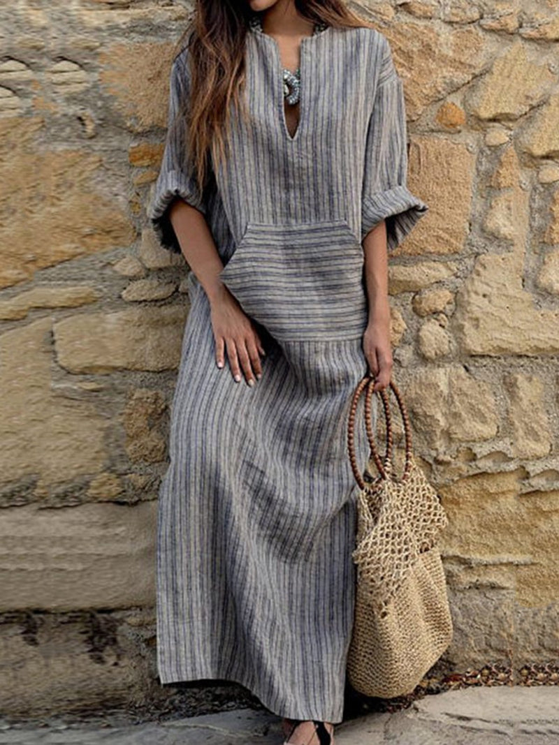 Gray Linen V-Neck Plus Size Casual Stripes Pockets Dress