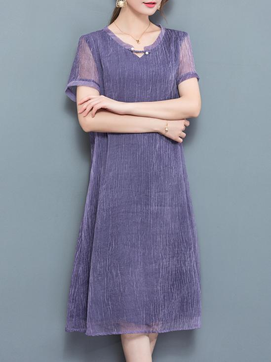 Purple Short Sleeve Plain Chiffon Shift Midi Dress