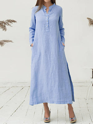 Plus Size Stand Collar Shift Daily Long Sleeve Solid Maxi Dress