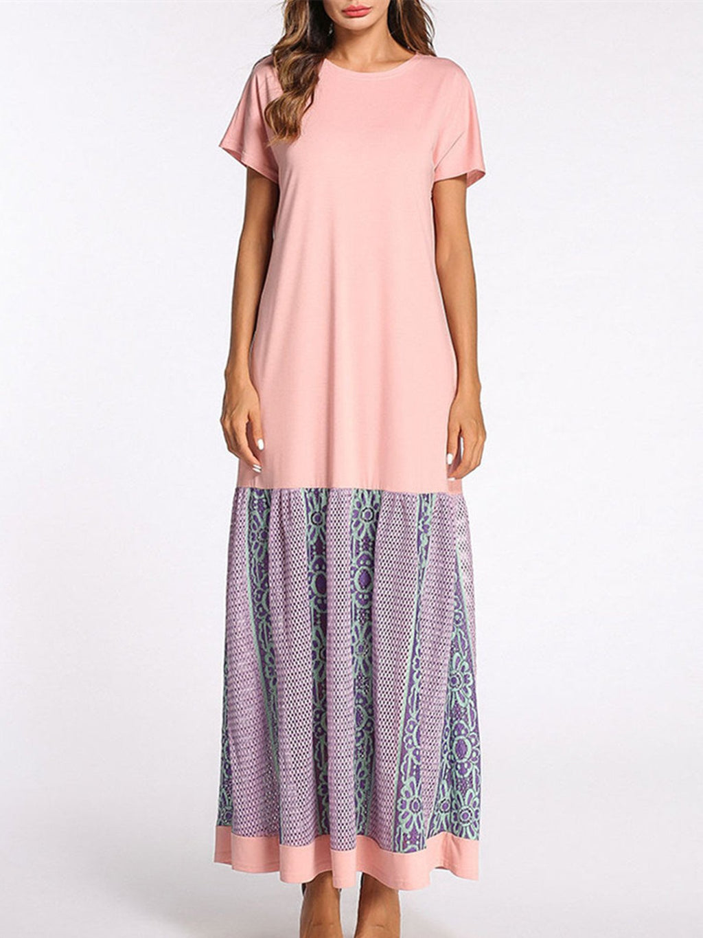 Pink Casual Paneled Crew Neck A-line Maxi Dress