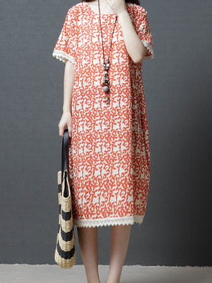 Paneled Floral Casual Shift Midi Dress
