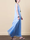 Solid Embroidery Chiffon Maxi Dress