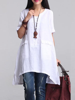 Knot Button Placket Irregular Long Linen Shirt