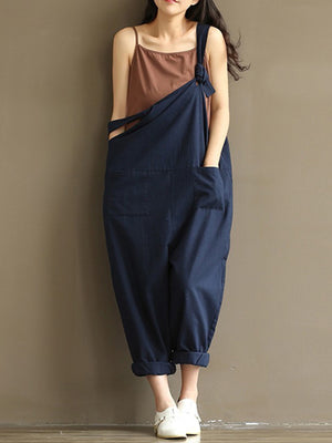 Solid Strappy Casual Jumpsuit