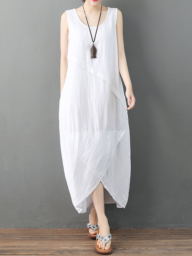 Solid Wrap Hem Sleeveless Linen Maxi Dress