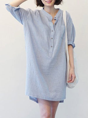 Grey Stripe Stand-up Collar Casual Shift Mini Linen Dress