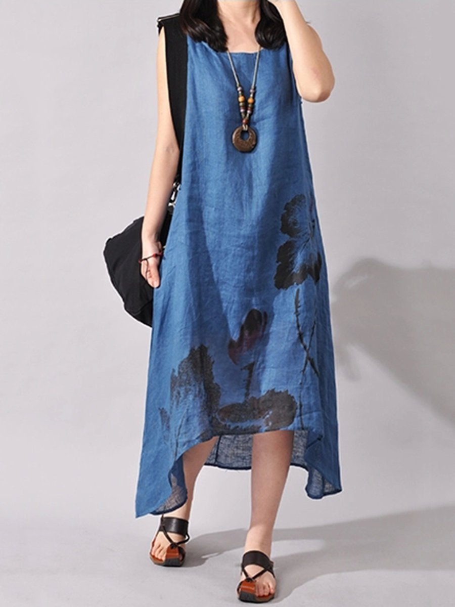 Lotus Ink Paint Print Asymmetric Hem Linen Midi Dress