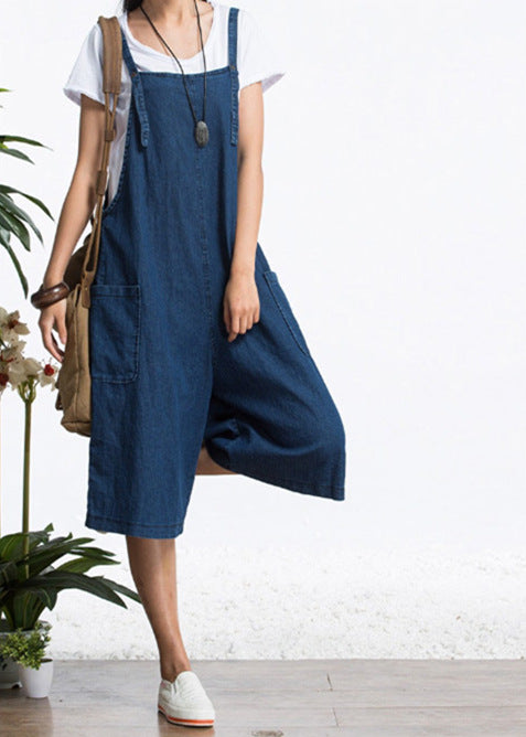 Casual Denim Pocket Knee Length Jumpsuit