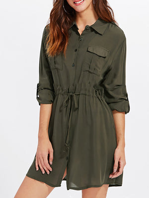 Solid Basic Shirt Collar Work Dress