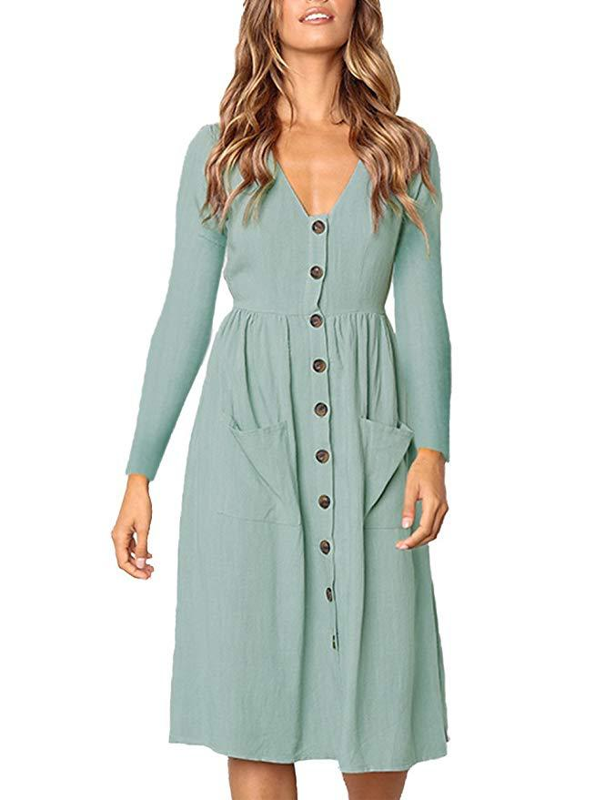 Solid Button Down Gathering Pocket Long Sleeve Midi A-line Dress