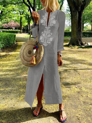 Deep Slit Neck Long Sleeve Center Print Slit Linen Dress