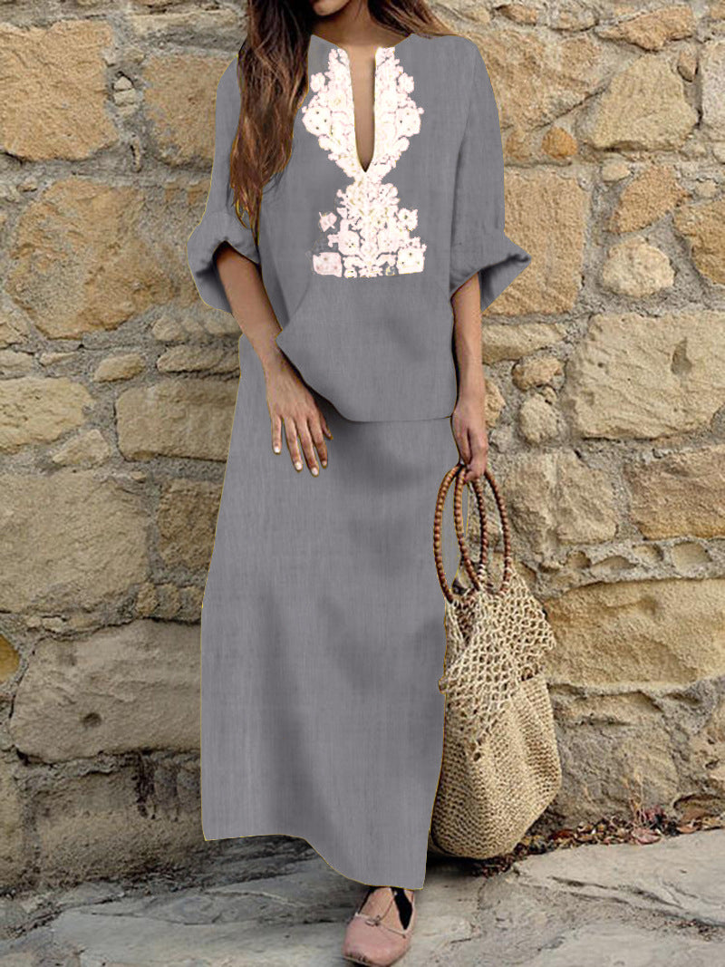 V Neck Center Print Loose Waist Loose Maxi Linen Dress