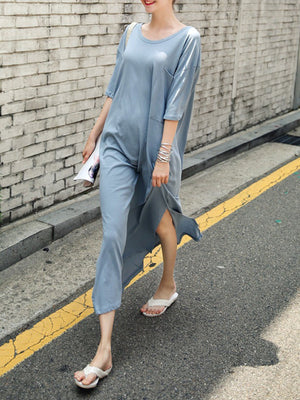 Women Shift Short Sleeve Casual Solid Maxi Dress
