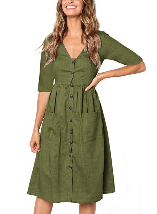 Solid Half Sleeve V Collar Button Pocket Midi Dress