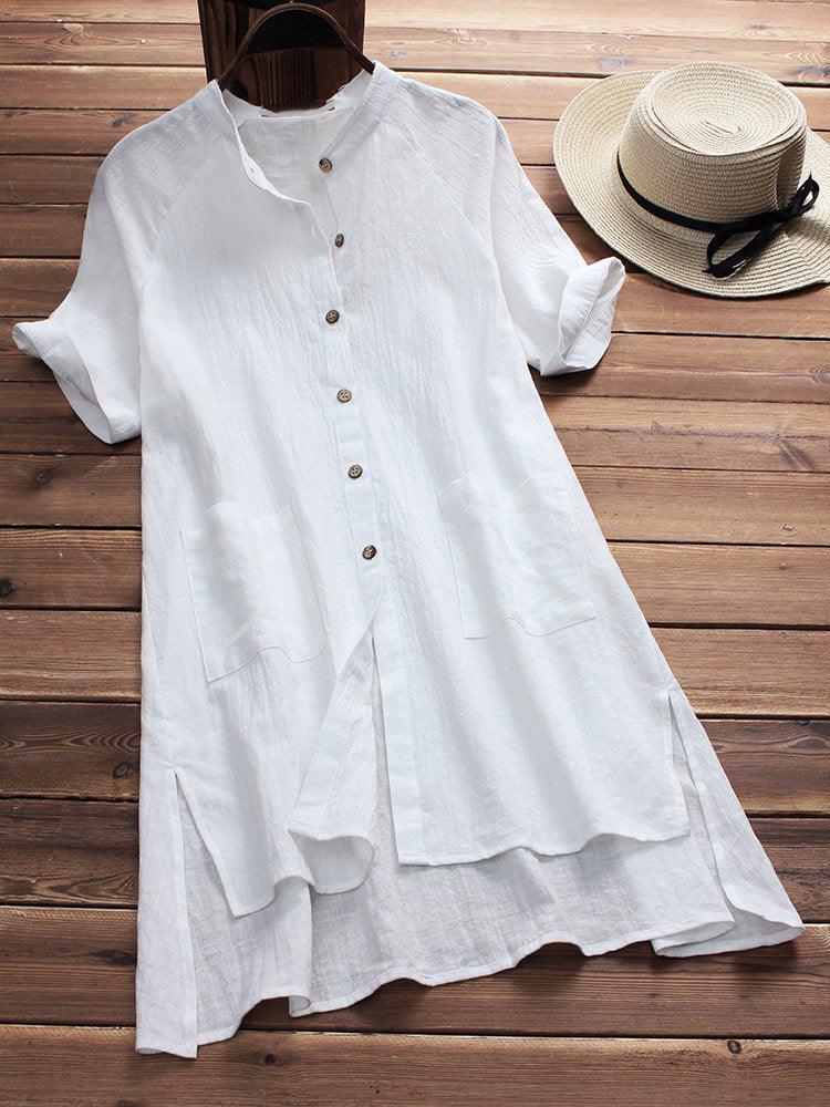 Stand Collar Short Sleeve Casual Slit Solid Casual Dress