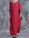 Red Solid Half Sleeve Casual Maxi Dress