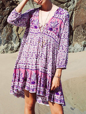 Women Purple Dress Shift Daily 3/4 Sleeve Casual Printed Dress