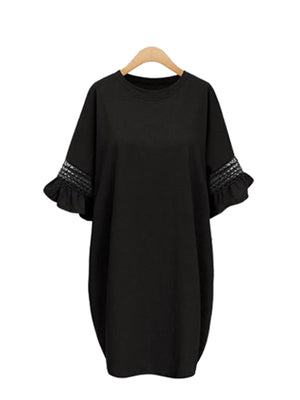Solid Casual Shift Cutout Midi Plus Size Frill Sleeve Dress