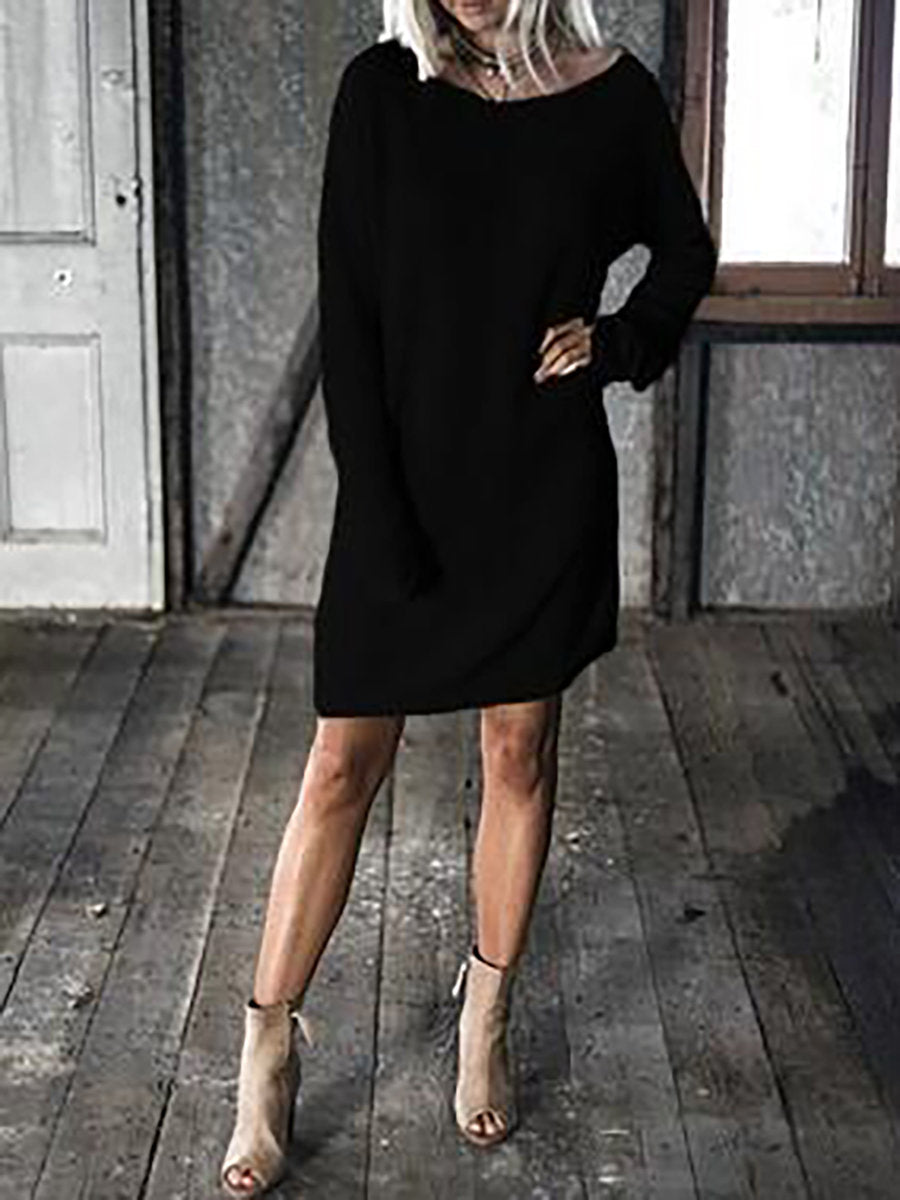 Vintage Crew Neck Paneled Solid Sweater Dress