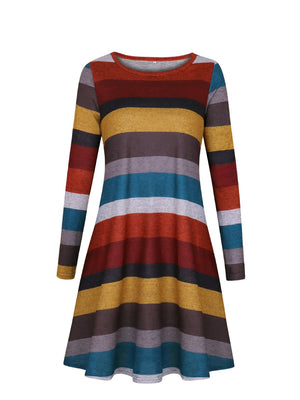 Women Daily Casual Long Sleeve Striped Pockets Dress