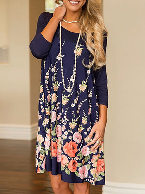 Swing Floral-print Floral Fall Dress
