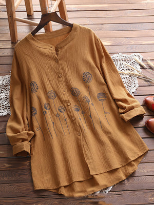 Printed Button Placket Long Sleeve Vintage Style Shirt
