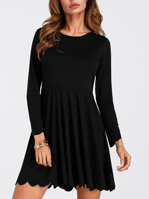 Long Sleeve Simple Wave Cut Women's Casual Dress