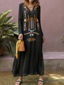 V neck Black Casual Bell Sleeve Cotton Embroidered Tribal Fall Dress