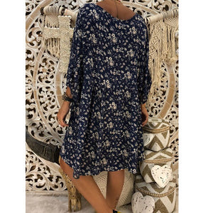 V neck Red Swing Women Daily Long Sleeve Printed Floral Fall Dress
