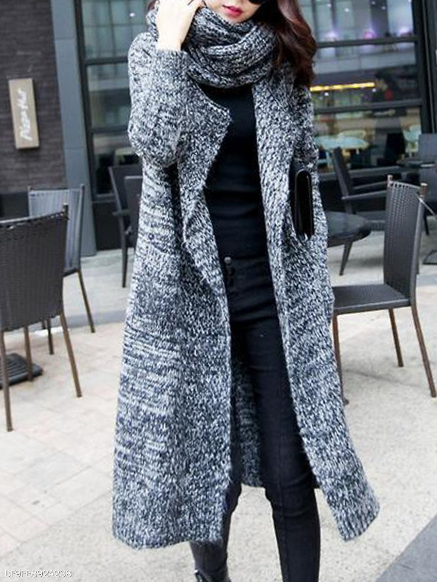 Solid color jersy Casual Solid Long Sleeve Coat