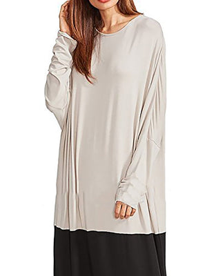 Shift Women Casual Long Sleeve Cotton Paneled Solid Fall Dress