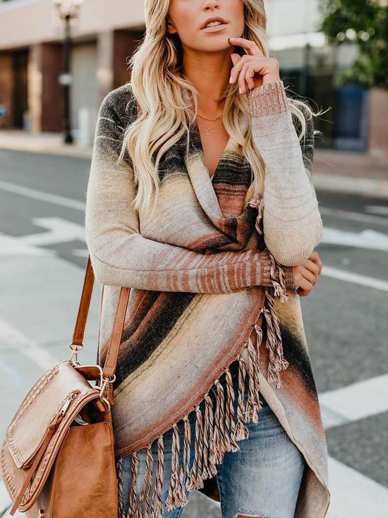 Multicolor Fringe Sweater Cardigan Coat