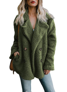 Buttoned Casual Quilted Long Sleeve Coat