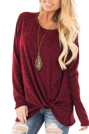 Round Neck Twisted Long Sleeve T-shirt
