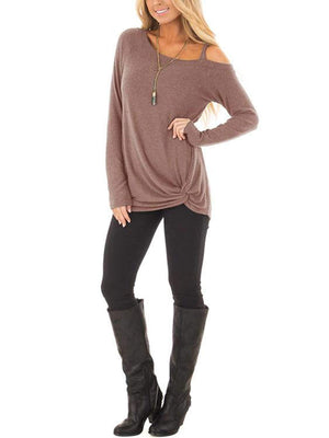 One-shoulder Strap Twisted T-shirt