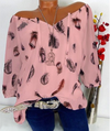 Trendy Long Sleeve Feather Print Lace Up V-neck Off Shoulder Shirts