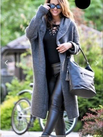 Solid Color Hooded Fashion Warm Wool Sweater Coat