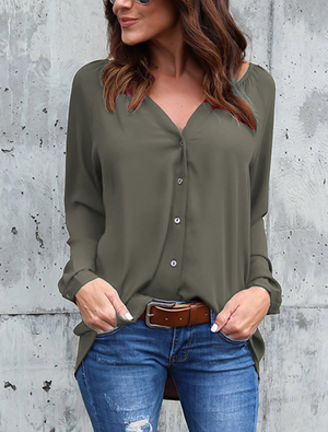 V-neck Pleated Button Long-sleeved Loose Chiffon Shirt