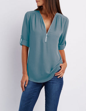 V-neck Zipper Plus Size Long-sleeved Loose Chiffon Shirt