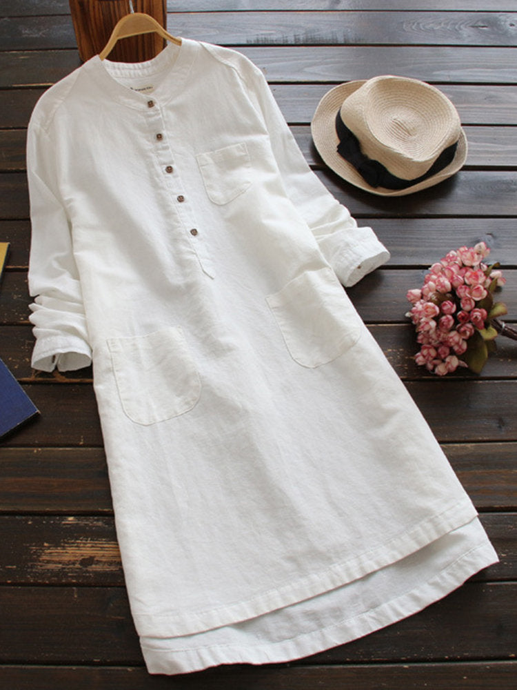 Women Pure Color Buttons Vintage Shirt Midi Dresses