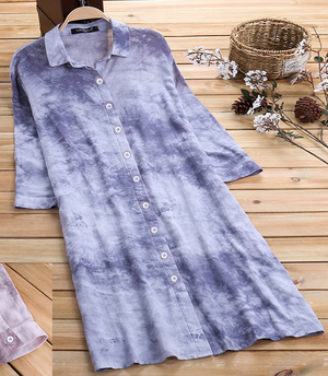 Fashion Tie-dye Shirt Dress