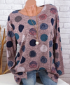 Women Fashion Polka Dot Casual Turn-down Collar Long Sleeve Shirt