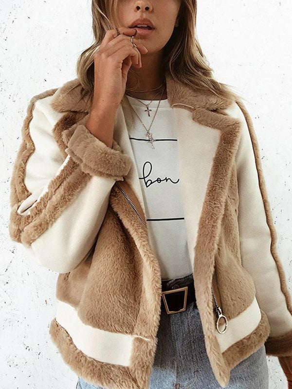 Winter Fashion Color Blocking Fur Cardigan Jacket
